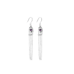 Found earrings in silver with gems