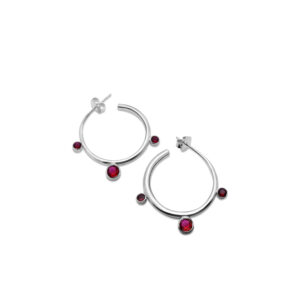 Botanical hoop earrings size large with vibrant gem stones
