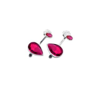 Botanical  double earrings with red gems